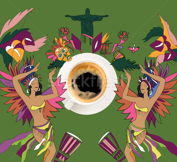 coffee with colorful brazilian theme Stock photo © LightFieldStudios