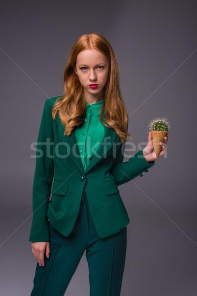 Vonzó lány kaktusz vonzó elegáns vörös hajú nő lány Stock fotó © LightFieldStudios