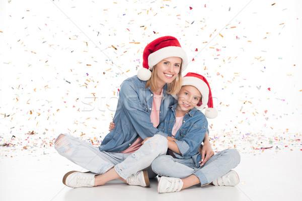 Anya lánygyermek konfetti karácsony boldog mikulás Stock fotó © LightFieldStudios