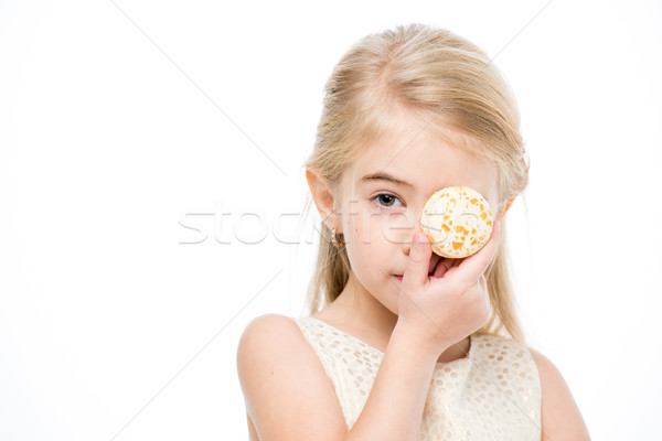 Fille macaron portrait petite fille oeil Photo stock © LightFieldStudios