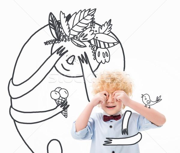 Cute мало мальчика мифический герой глазах Сток-фото © LightFieldStudios