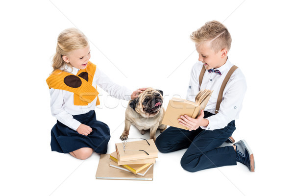 kids with books and dog Stock photo © LightFieldStudios