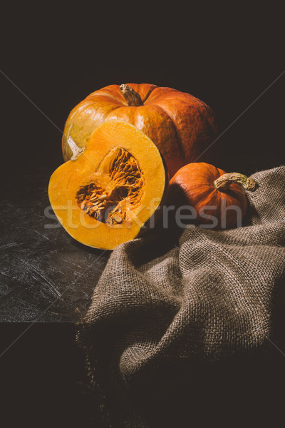 ripe pumpkins on sackcloth  Stock photo © LightFieldStudios