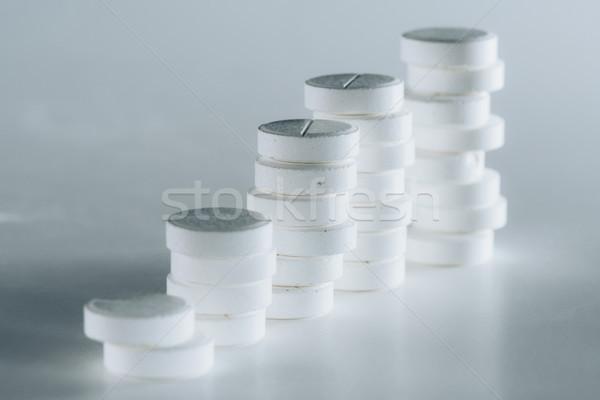 Stockfoto: Witte · pillen · grijs · geneeskunde