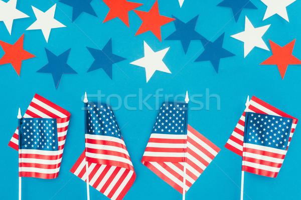 Felső kilátás csillagok amerikai zászlók izolált Stock fotó © LightFieldStudios