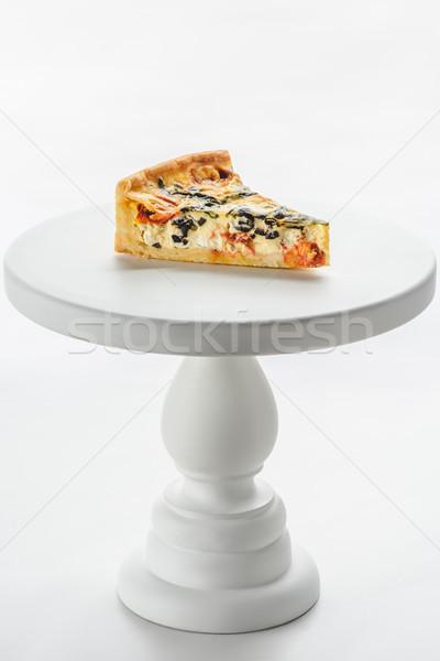 piece of vegetable pie on white cake stand Stock photo © LightFieldStudios
