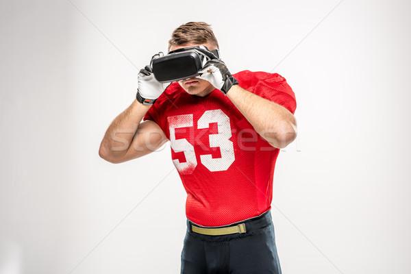 Futballista virtuális valóság headset amerikai szürke Stock fotó © LightFieldStudios