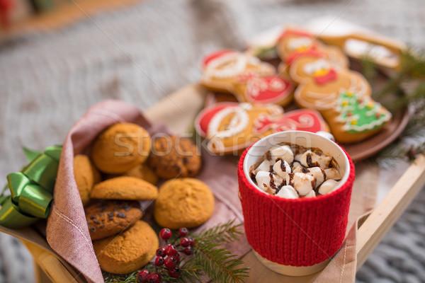 Karácsony sütik forró csokoládé közelkép kilátás fából készült Stock fotó © LightFieldStudios