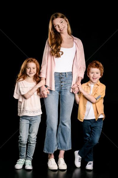 Boldog anya imádnivaló vörös hajú nő gyerekek áll Stock fotó © LightFieldStudios