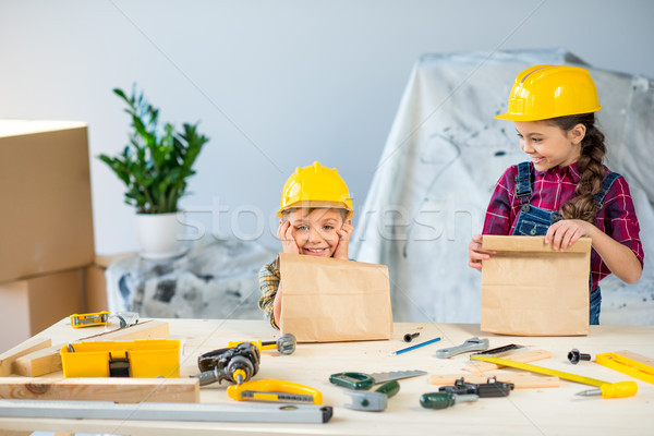 Kids with paper bags  Stock photo © LightFieldStudios