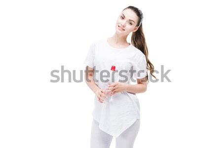 Stock photo: woman with light bulb