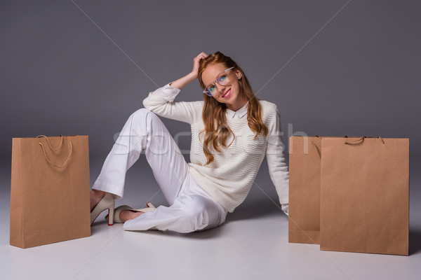 fashionable girl with shopping bags Stock photo © LightFieldStudios