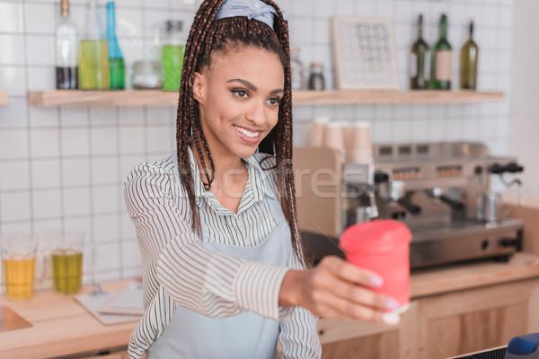 Barista müşteri kahve gülen Stok fotoğraf © LightFieldStudios