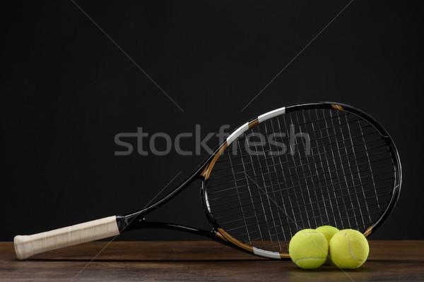 Racchetta da tennis primo piano shot tre legno Foto d'archivio © LightFieldStudios