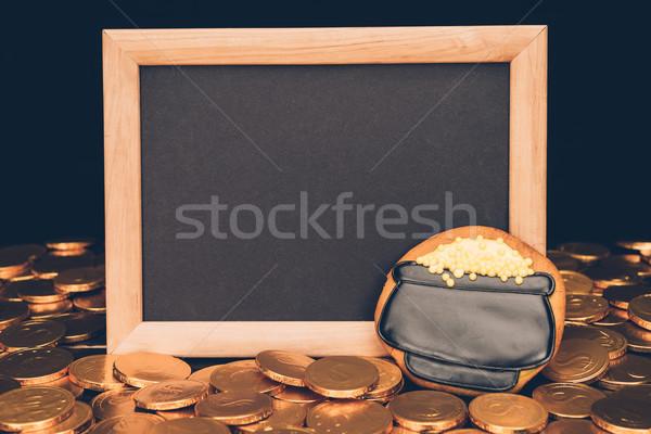 Boş tahta altın madeni para buzlanma kurabiye Stok fotoğraf © LightFieldStudios
