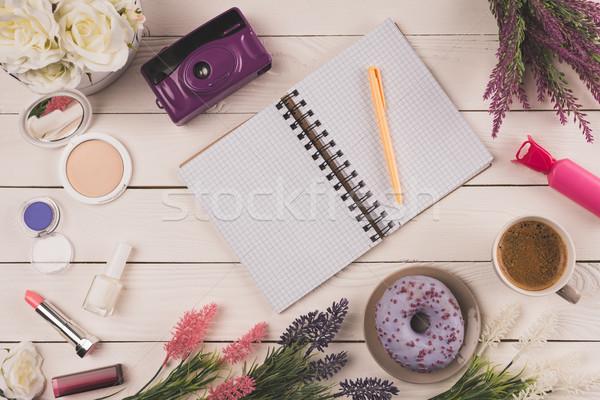 Stock fotó: Felső · kilátás · üres · nyitva · notebook · toll