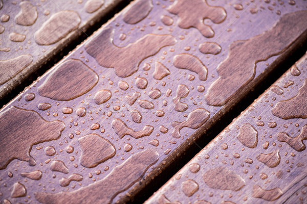 Close-up view of water drops on wooden planks background Stock photo © LightFieldStudios