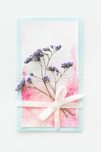 Haut vue couleur pour aquarelle invitation fleur ruban Photo stock © LightFieldStudios