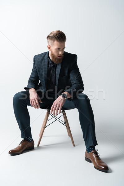 Stijlvol bebaarde man pak vergadering stoel Stockfoto © LightFieldStudios