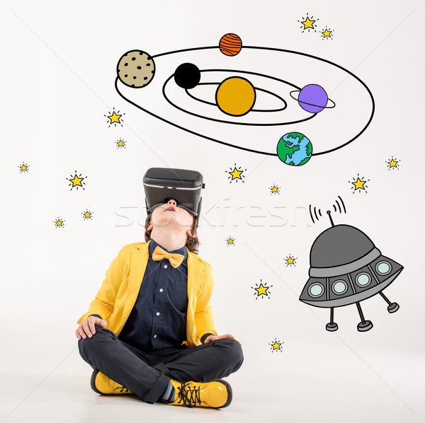Fiú álmodik űr utazó fiatal srác visel Stock fotó © LightFieldStudios