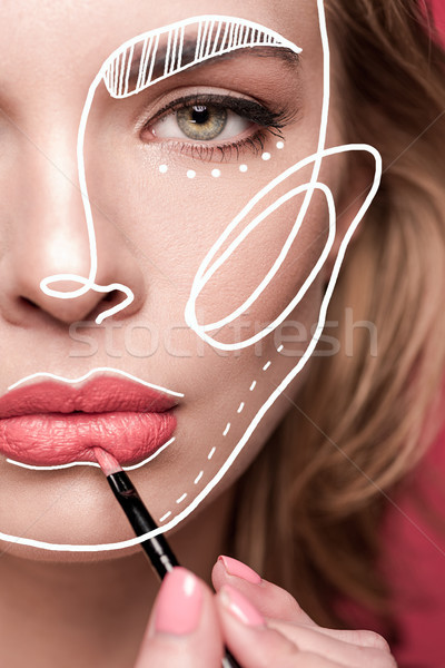 Foto stock: Mulher · make-up · lábio · escove · retrato