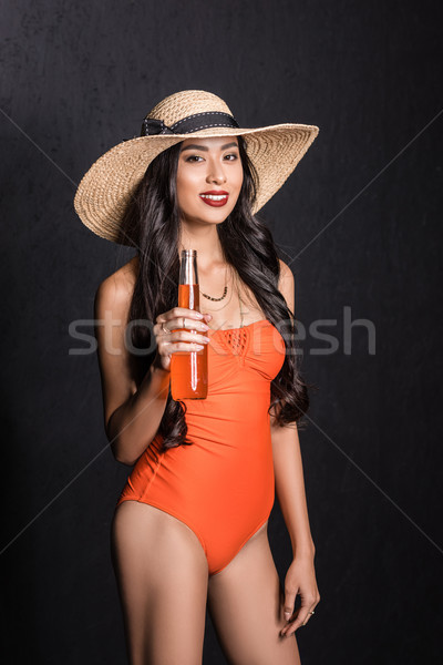 Femme maillot de bain soude coup souriant Photo stock © LightFieldStudios