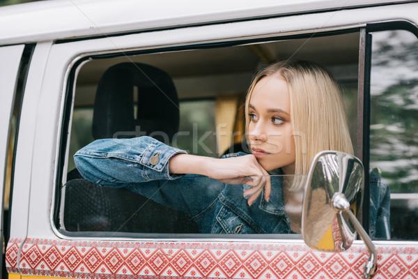 путешественник ретро красивой блондинка Сток-фото © LightFieldStudios