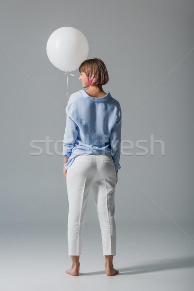 ストックフォト: 少女 · 白 · バルーン · 背面図 · 美少女 · 孤立した