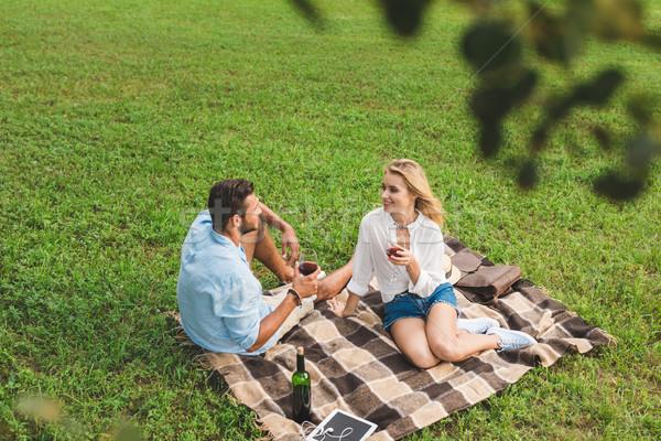 Pár iszik bor romantikus randevú fiatal pér Stock fotó © LightFieldStudios