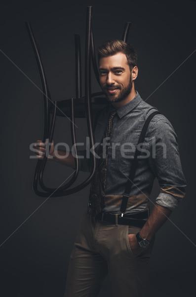 Stok fotoğraf: Adam · poz · ahşap · sandalye · yakışıklı · genç · jartiyer