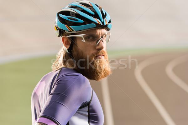 サイクリスト ヘルメット ゴーグル 肖像 小さな 見える ストックフォト © LightFieldStudios