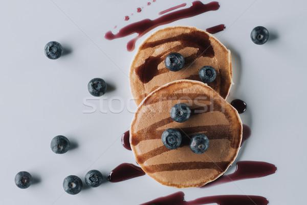 Top heerlijk zoete eigengemaakt pannenkoeken Stockfoto © LightFieldStudios