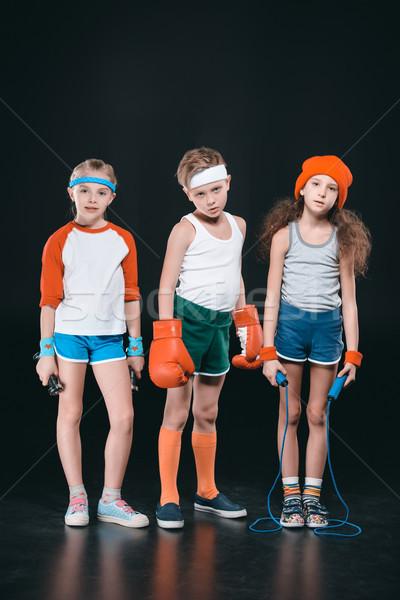 три активный дети спортивная одежда позируют спорт Сток-фото © LightFieldStudios