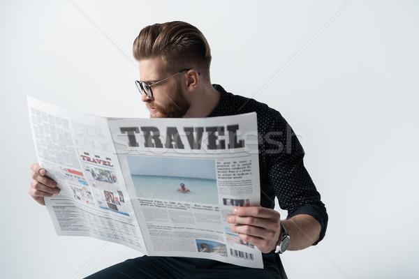 Portré elegáns férfi szemüveg olvas újság Stock fotó © LightFieldStudios