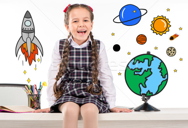 school girl dreaming about space traveling Stock photo © LightFieldStudios