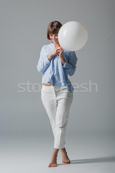 ストックフォト: 幸せな女の子 · バルーン · 幸せ · 少女 · 白