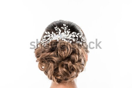 Penteado belo ver de volta feminino isolado branco Foto stock © LightFieldStudios