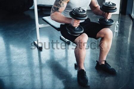スポーツマン ケトルベル 背面図 ショット 小さな ストックフォト © LightFieldStudios
