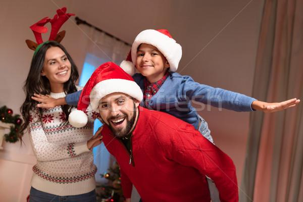 Família feliz natal feliz pai seis Foto stock © LightFieldStudios