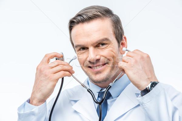 Male doctor with stethoscope Stock photo © LightFieldStudios