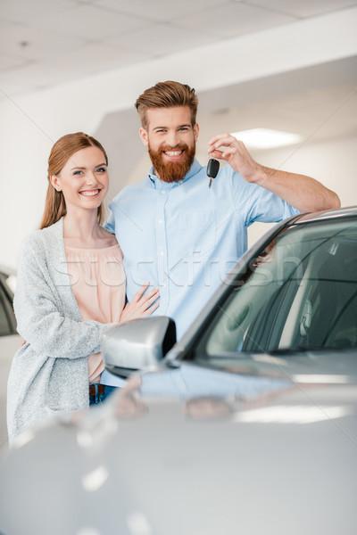 ストックフォト: 幸せ · カップル · 車のキー · 立って · 車