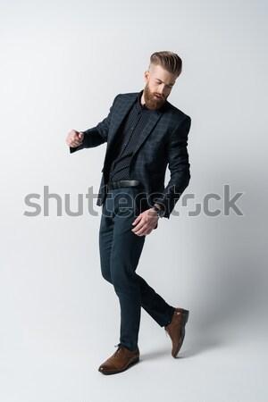 Foto stock: Elegante · barbudo · homem · terno · branco · estilo