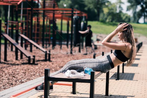 Frau Ausübung Seitenansicht Fitness Sommer Stock foto © LightFieldStudios