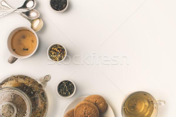 Foto d'archivio: Tisana · cookies · top · view · fresche · vetro