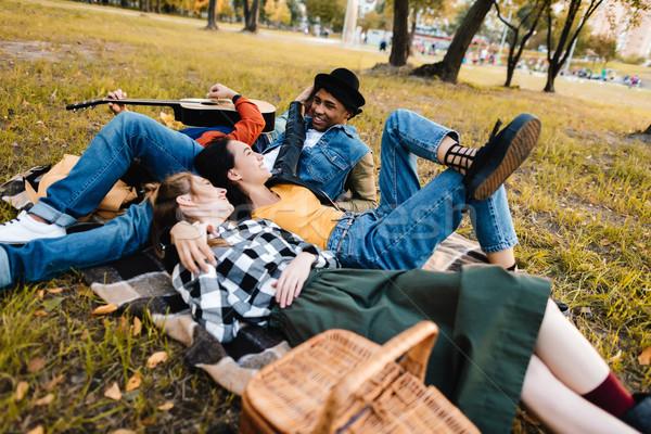 Multiculturele vrienden park groep deken Stockfoto © LightFieldStudios