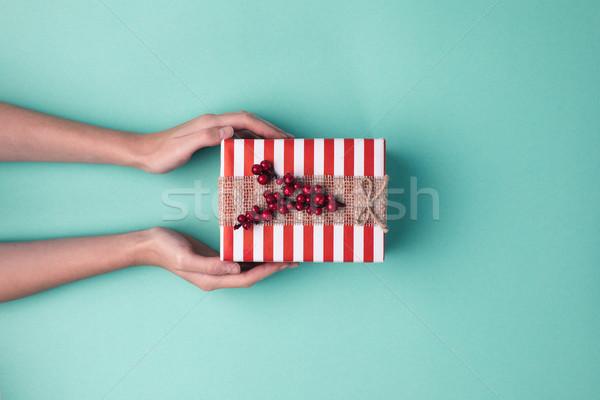 hands holding christmas gift Stock photo © LightFieldStudios