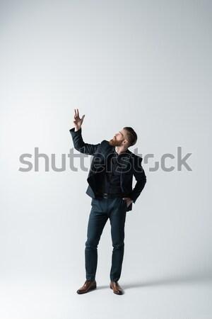 şık sakallı adam zarif takım elbise el Stok fotoğraf © LightFieldStudios