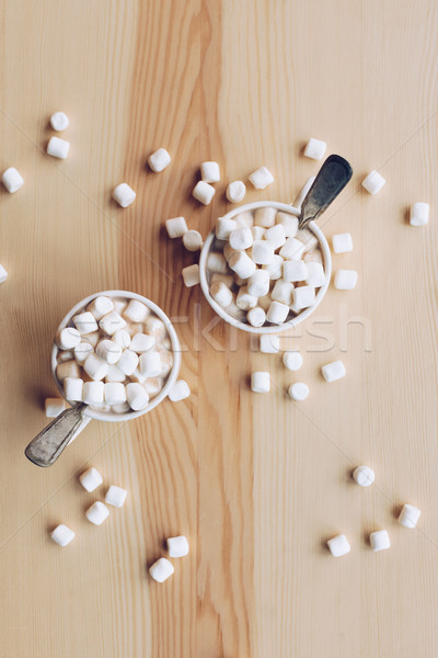 Coppe cacao marshmallow top view dolce Foto d'archivio © LightFieldStudios