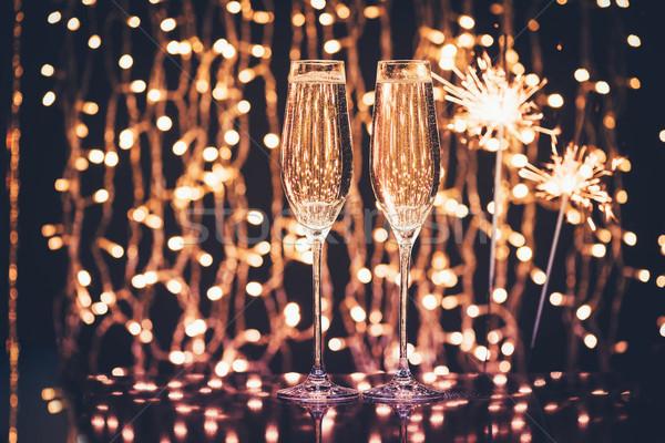 очки шампанского избирательный подход Рождества фары напитки Сток-фото © LightFieldStudios