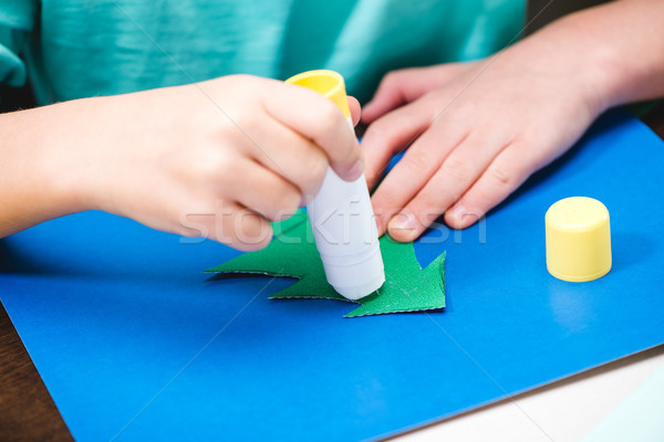 Child making christmas card Stock photo © LightFieldStudios